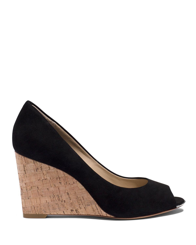 michael kors open toe wedge sandals valari in black lyst