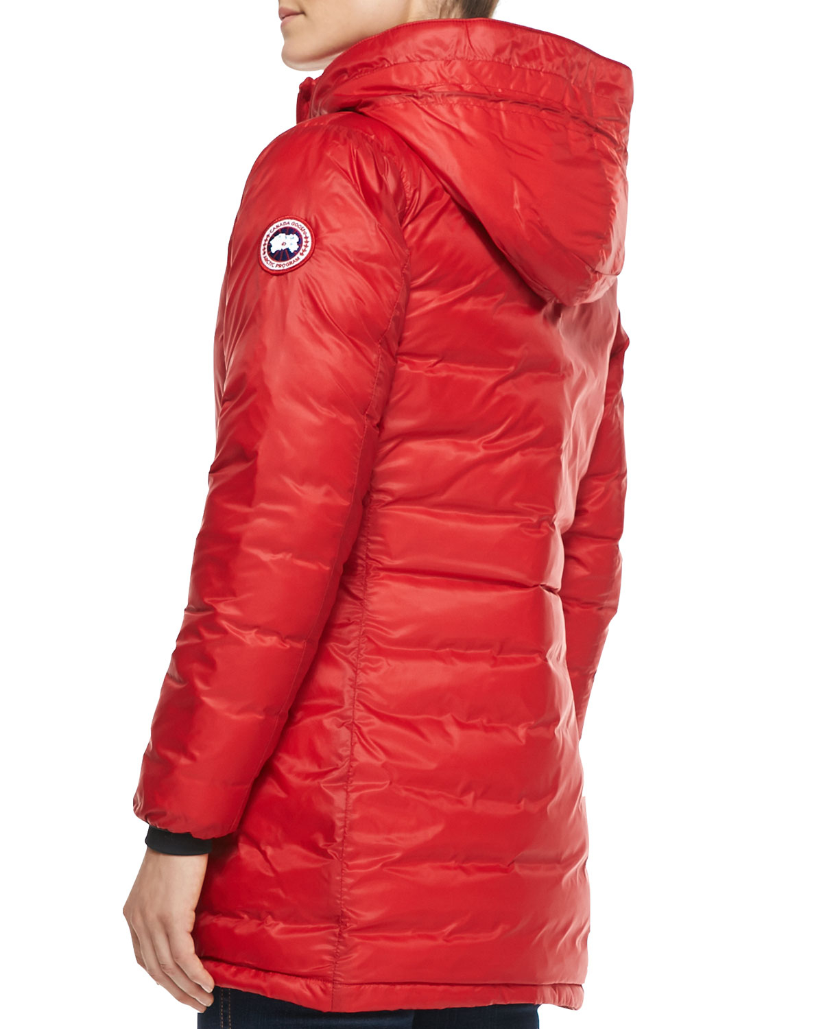 Canada goose Camp Hooded Mid-Length Puffer Coat in Red | Lyst