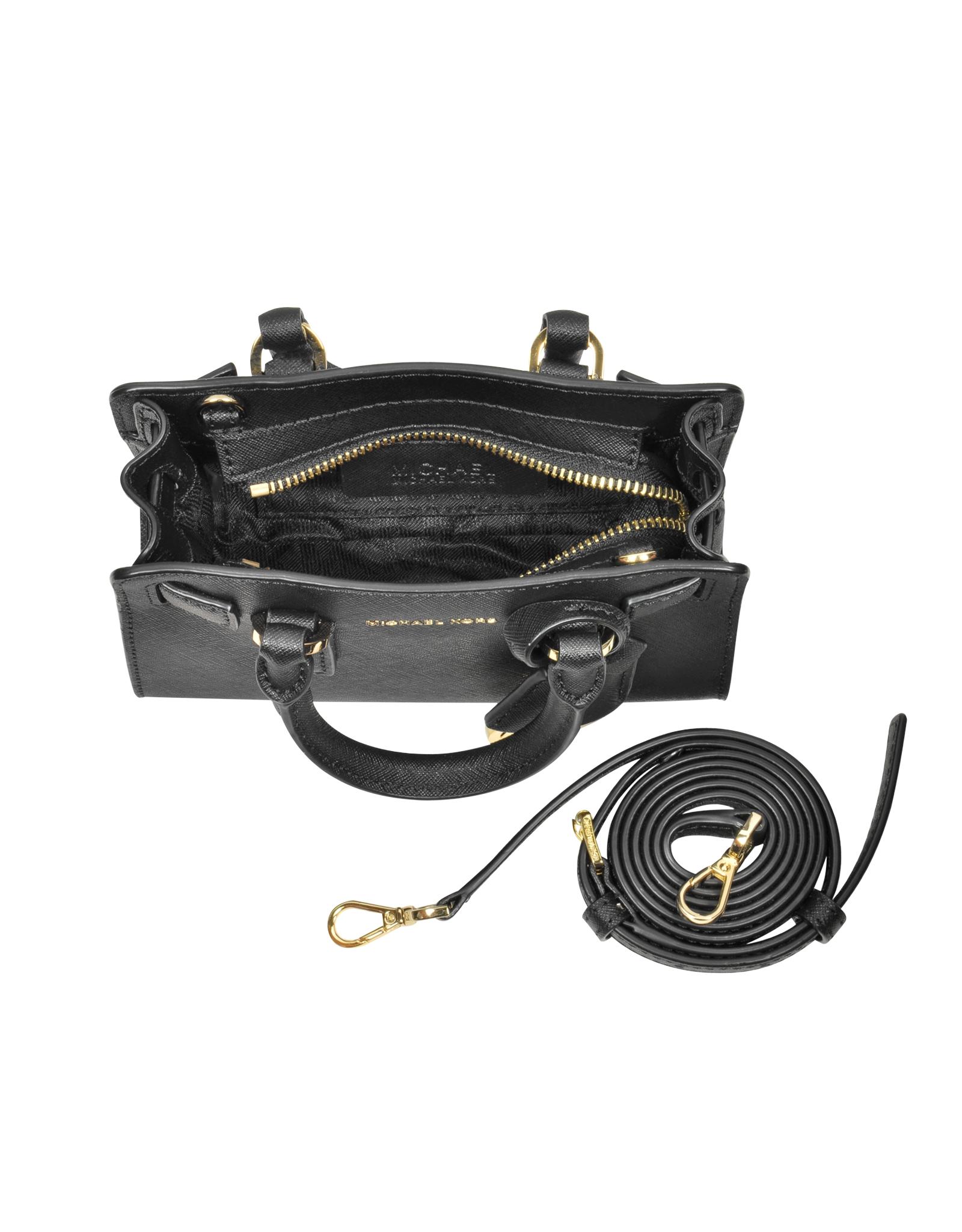 1752b7440123 Lyst - Michael Kors Dillon Black Saffiano Leather Extra Small ...
