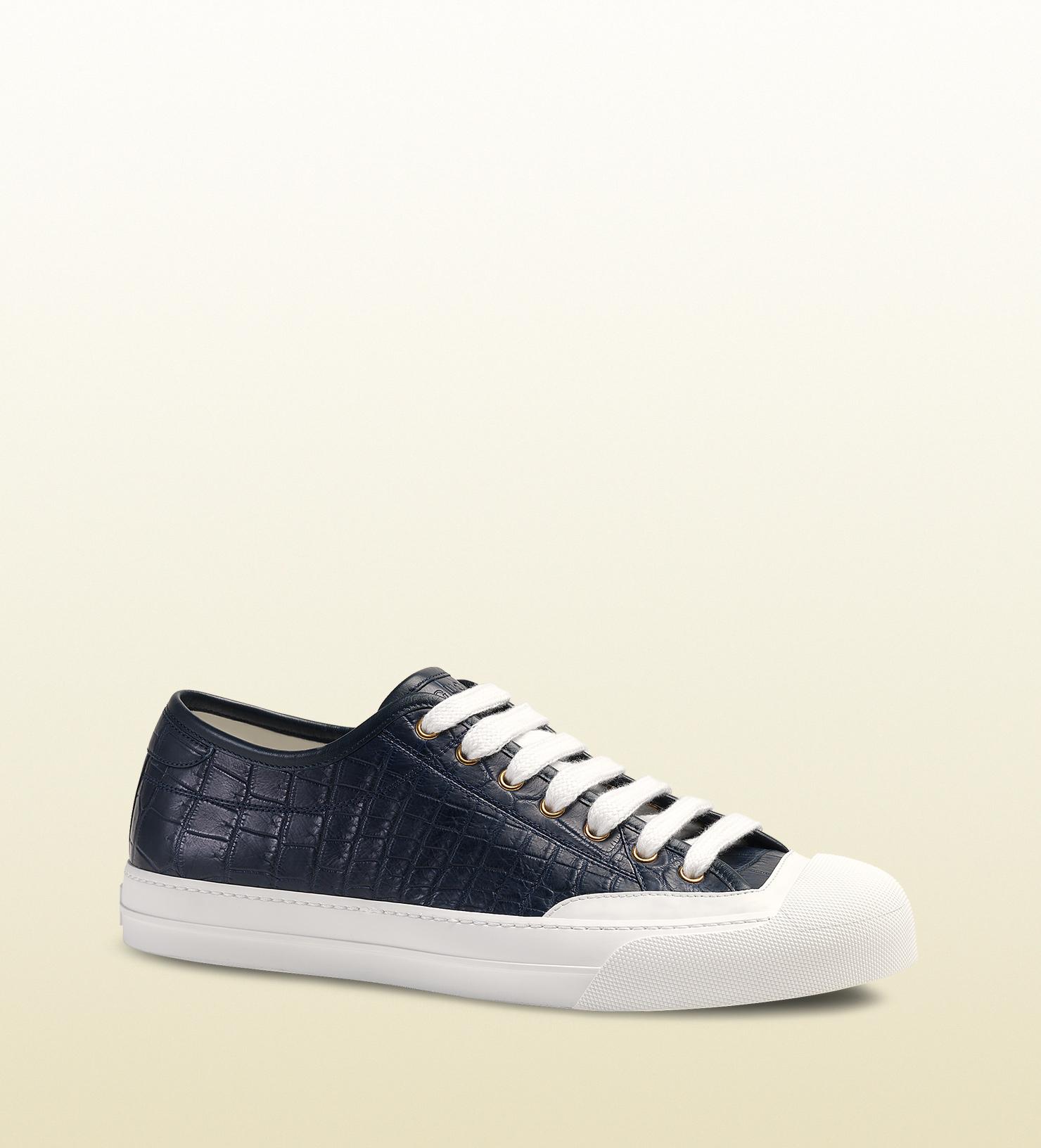 093adc4d7e0 Lyst - Gucci Crocodile Low-top Sneaker in Black for Men
