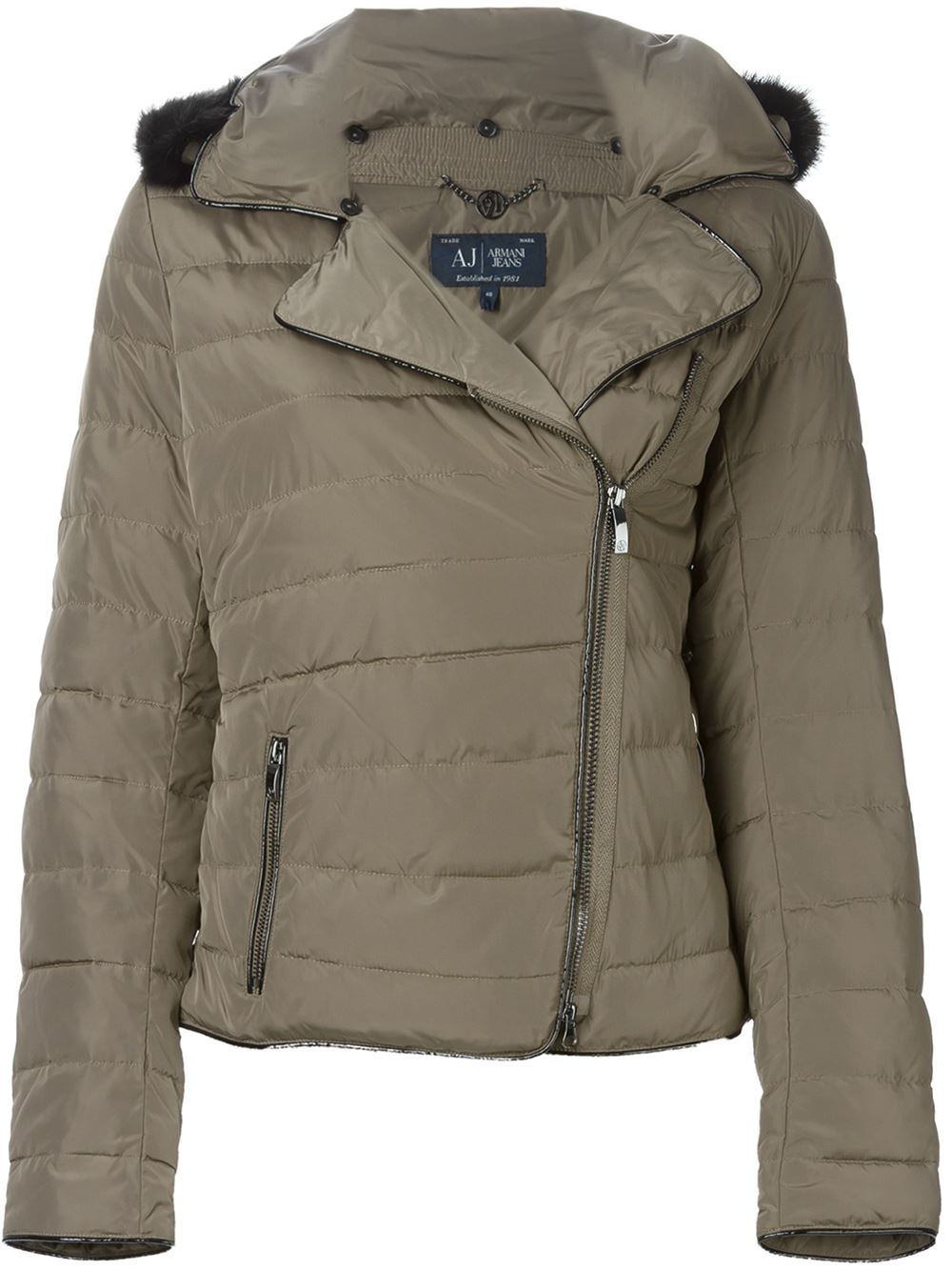 c8e1fb984867 Armani Jeans Faux-Fur-Collar Quilted Jacket in Brown - Lyst