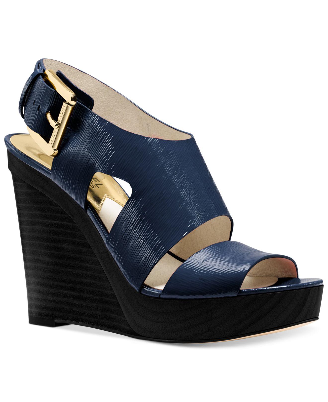 bb977f16265cb Lyst - Michael Kors Michael Carla Platform Wedge Sandals in Blue