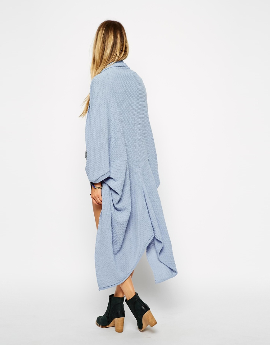 Asos Longline Cocoon Cardigan With Short Sleeve in Blue | Lyst