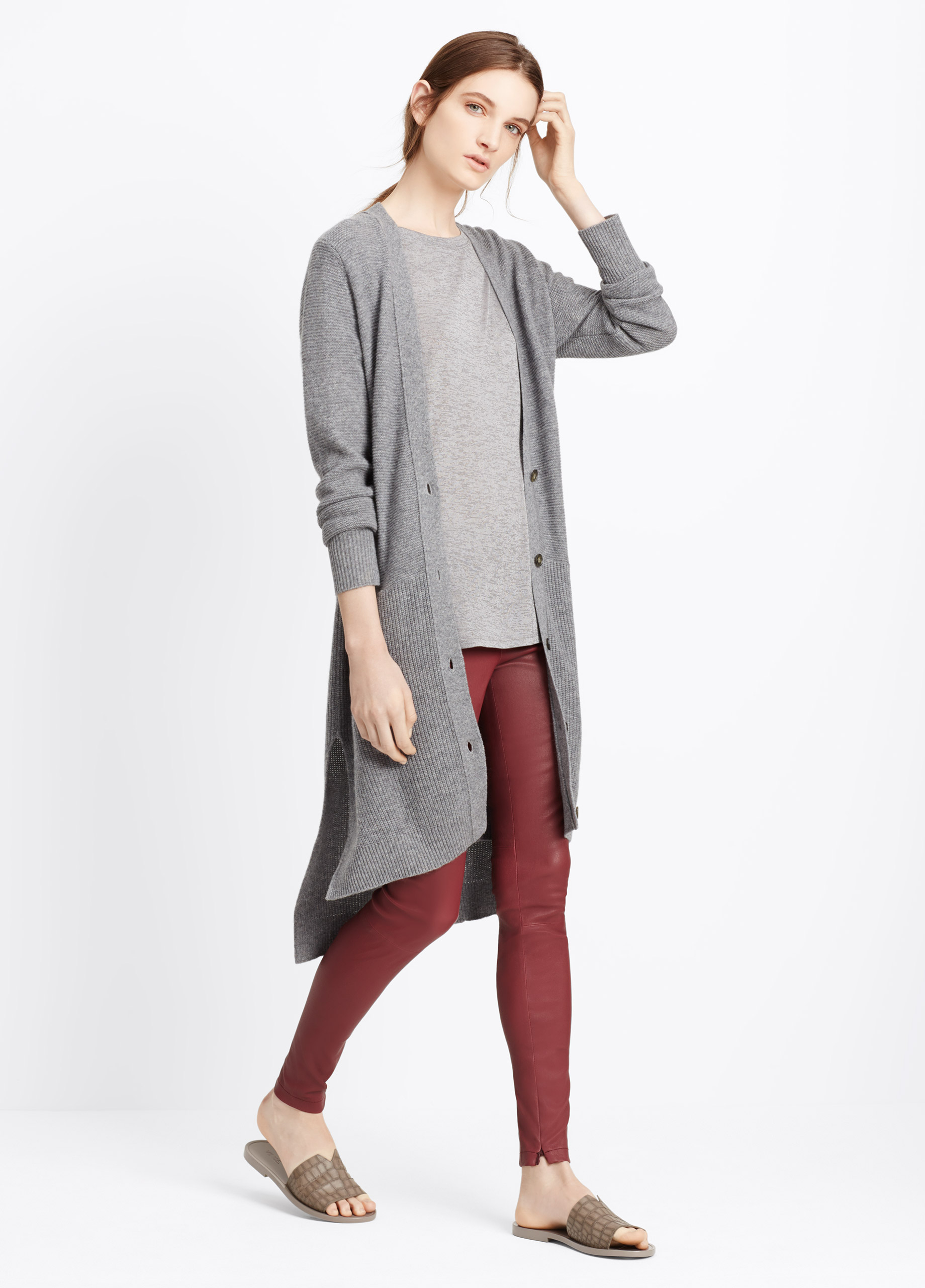 Vince Cashmere Directional Rib Long Cardigan in Gray   Lyst