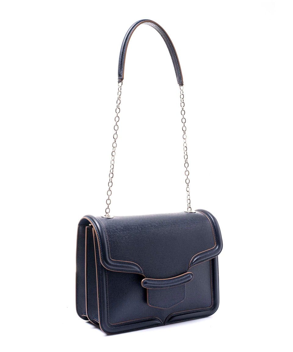 Alexander mcqueen Navy Heroine Chain Satchel Bag in Blue | Lyst