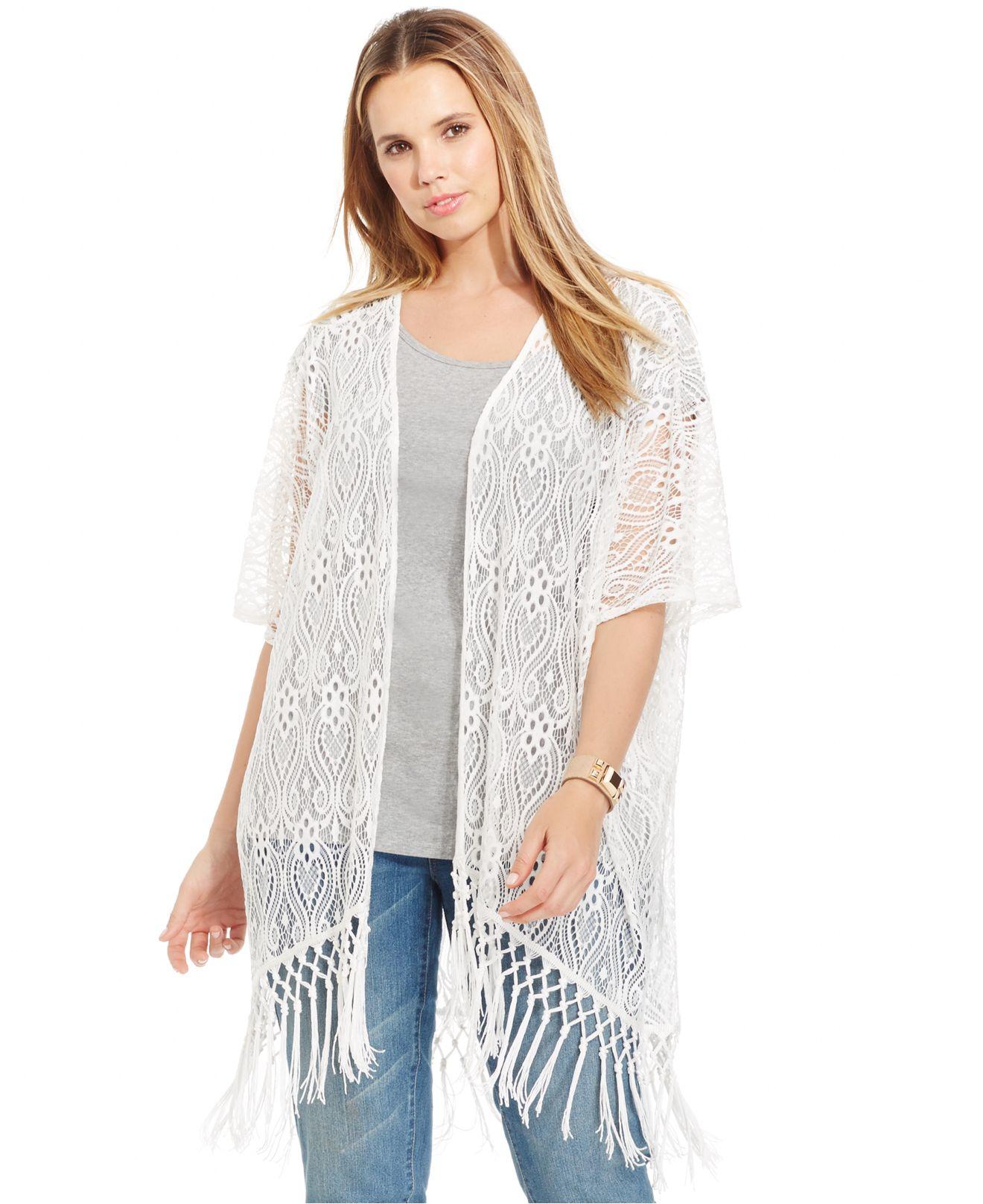 White Lace Fringed