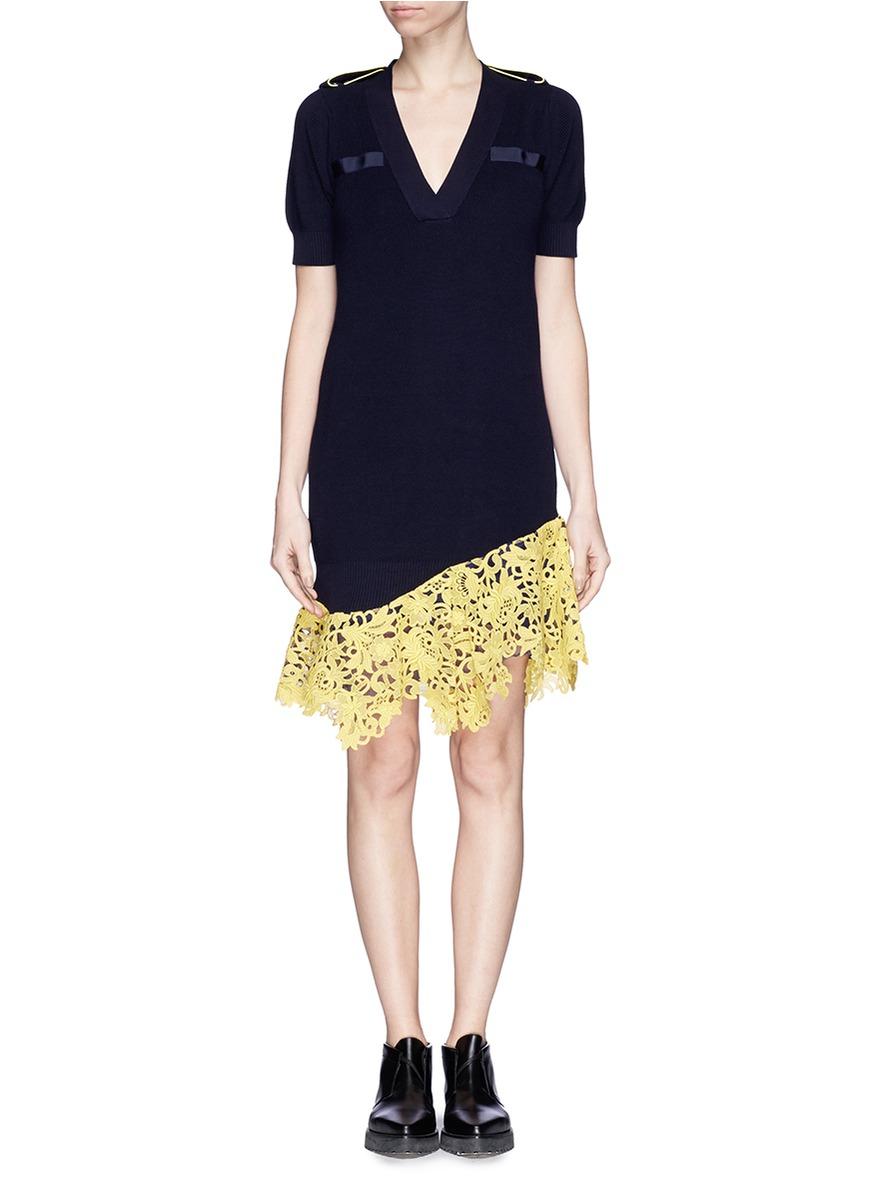 Sacai Asymmetric Lace Hem Knit Dress In Blue Lyst