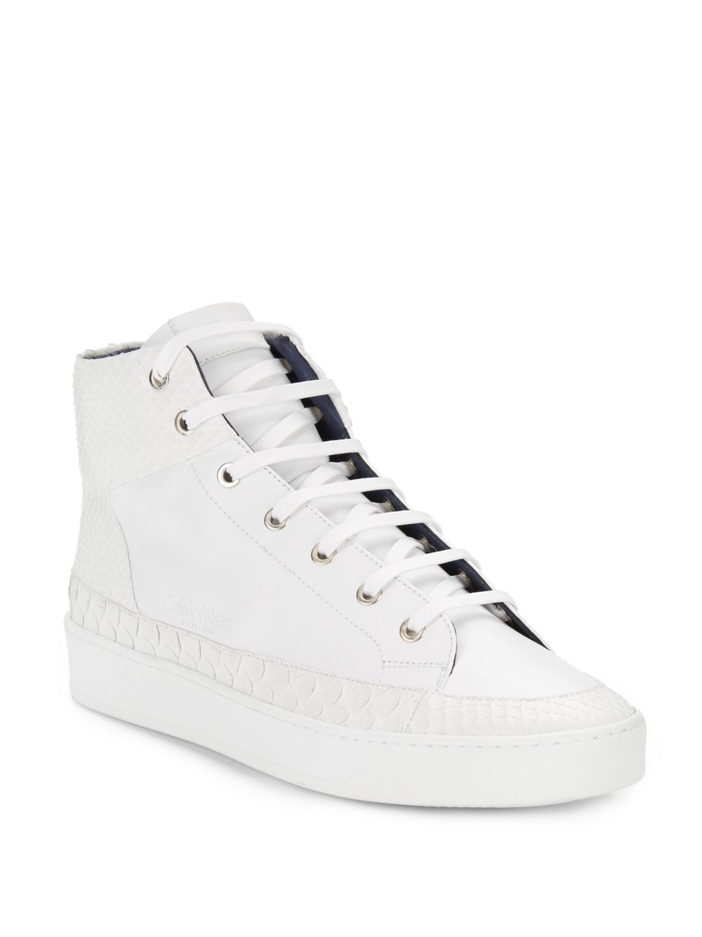Calvin Klein Embossed Leather High-Top Sneakers In