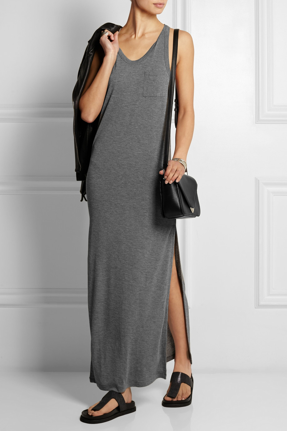 T by alexander wang Jersey Maxi Dress in Gray | Lyst