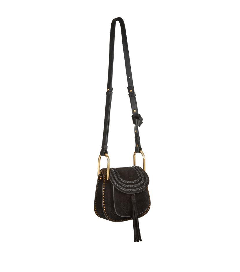 Chlo�� Hudson Small Suede Shoulder Bag in Black | Lyst