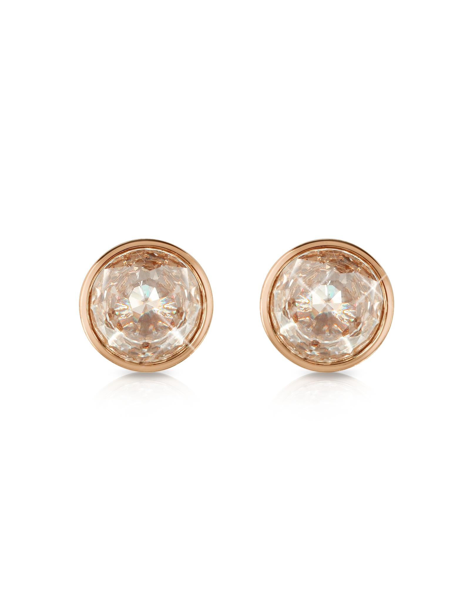 Lyst Michael Kors Crystal Rose Gold Tone Stud Earrings In Metallic