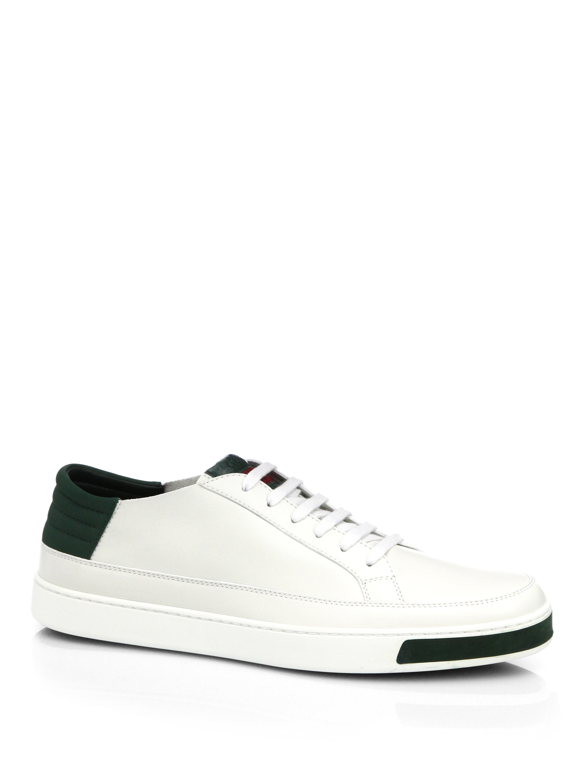 5eae4e746 Gucci Leather, Suede & Lizard Low-top Sneakers in White for Men - Lyst