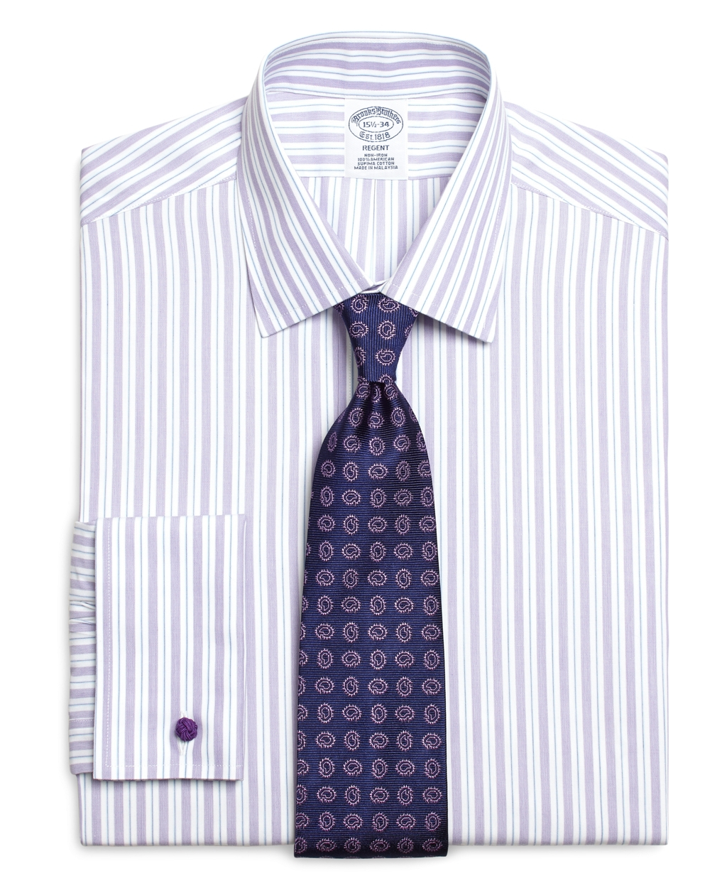 Brooks brothers non iron madison fit split stripe french for Purple french cuff dress shirt