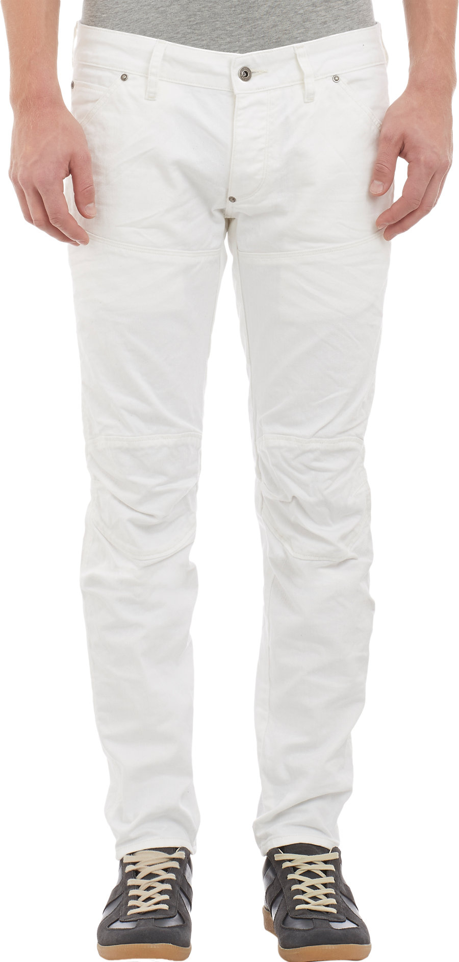 star raw moto jeans in white for men lyst. Black Bedroom Furniture Sets. Home Design Ideas