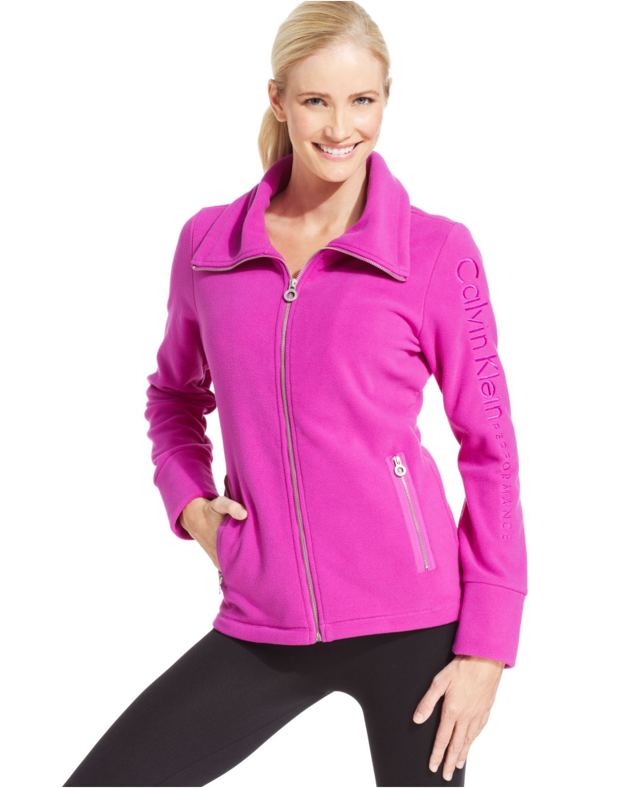 Calvin klein Performance Fleece Logo Jacket in Purple | Lyst
