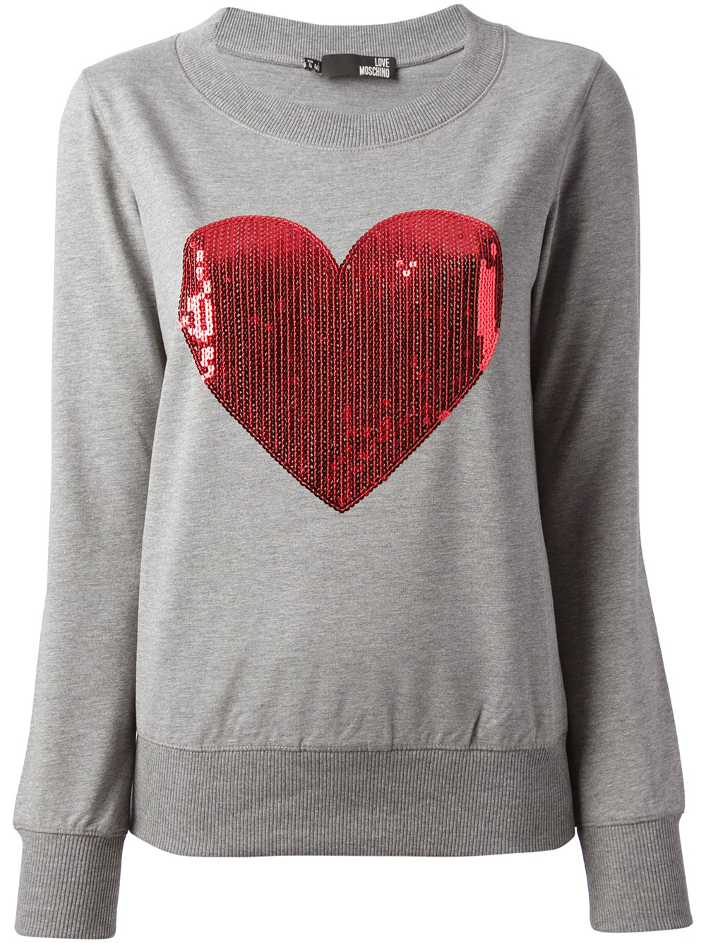 Love moschino Sequined Heart Sweater in Gray | Lyst