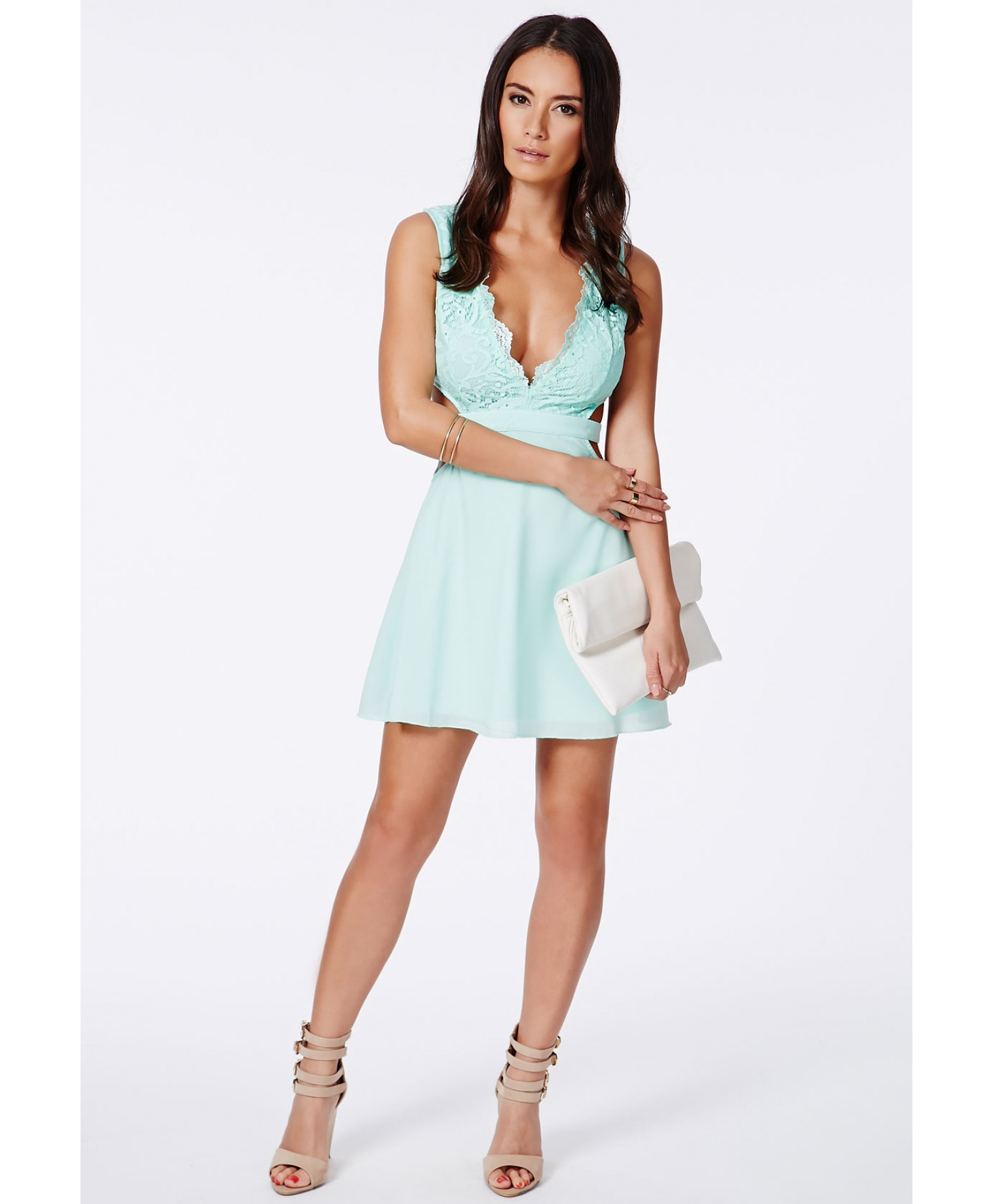 461b098dd7 Missguided Roksy Mint Lace Plunge Cut Out Dress in Blue - Lyst