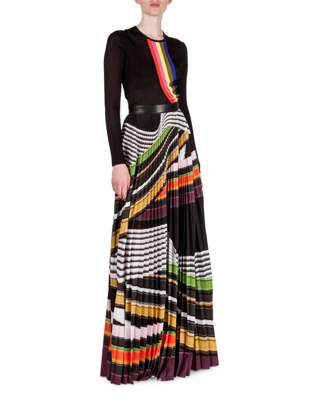 katrantzou multi stripe plisse maxi skirt in