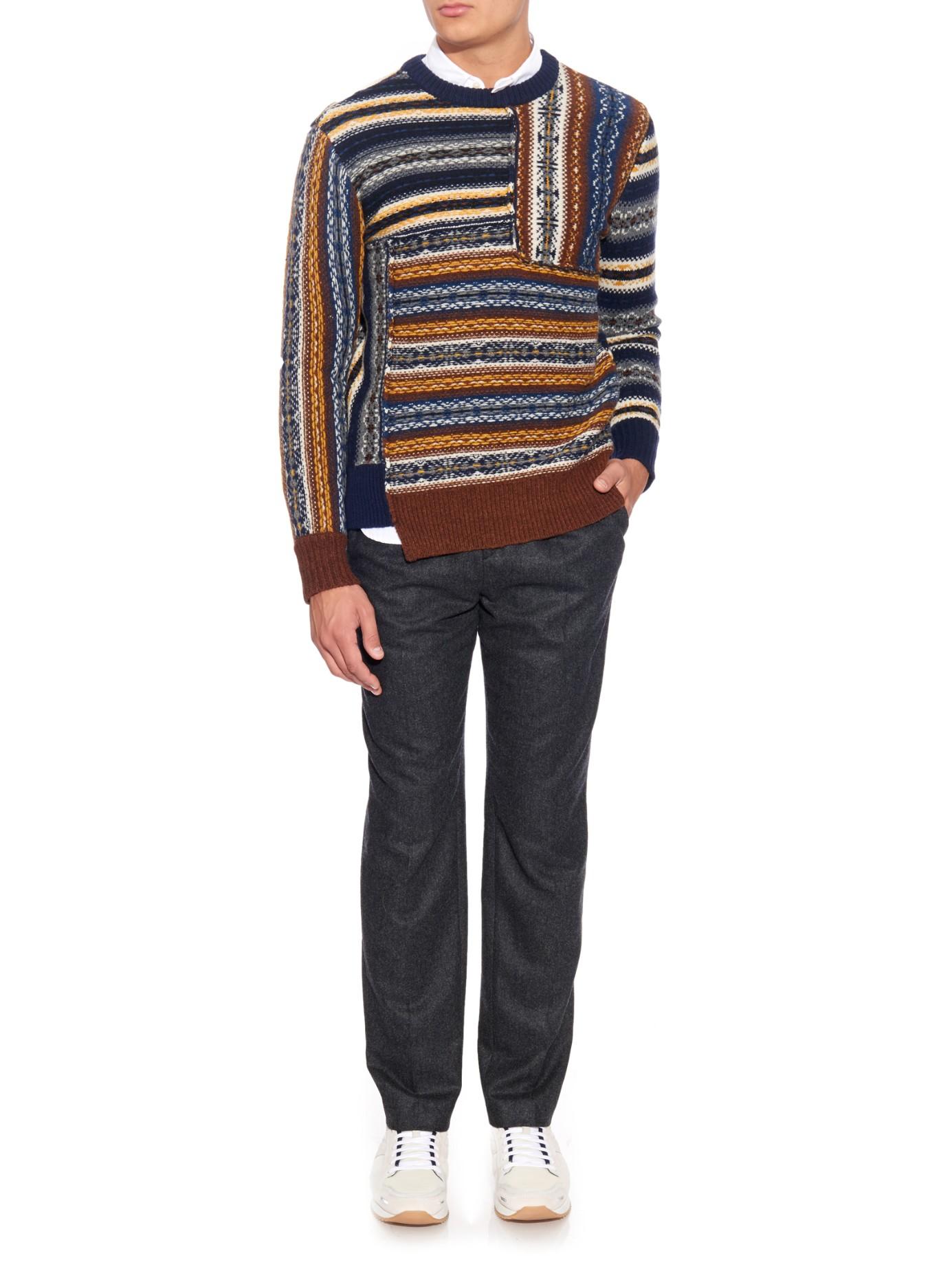 Joseph Fair Isle Wool Sweater for Men | Lyst