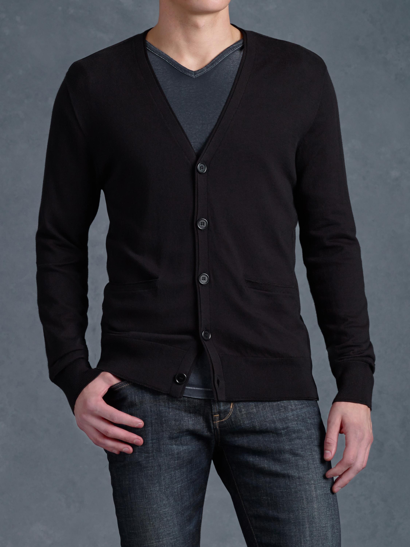 John varvatos Button Front Cardigan Sweater in Black for Men | Lyst