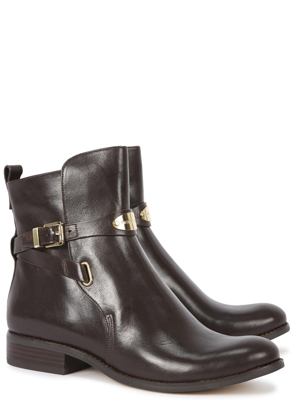 michael kors arley brown leather ankle boots in brown lyst