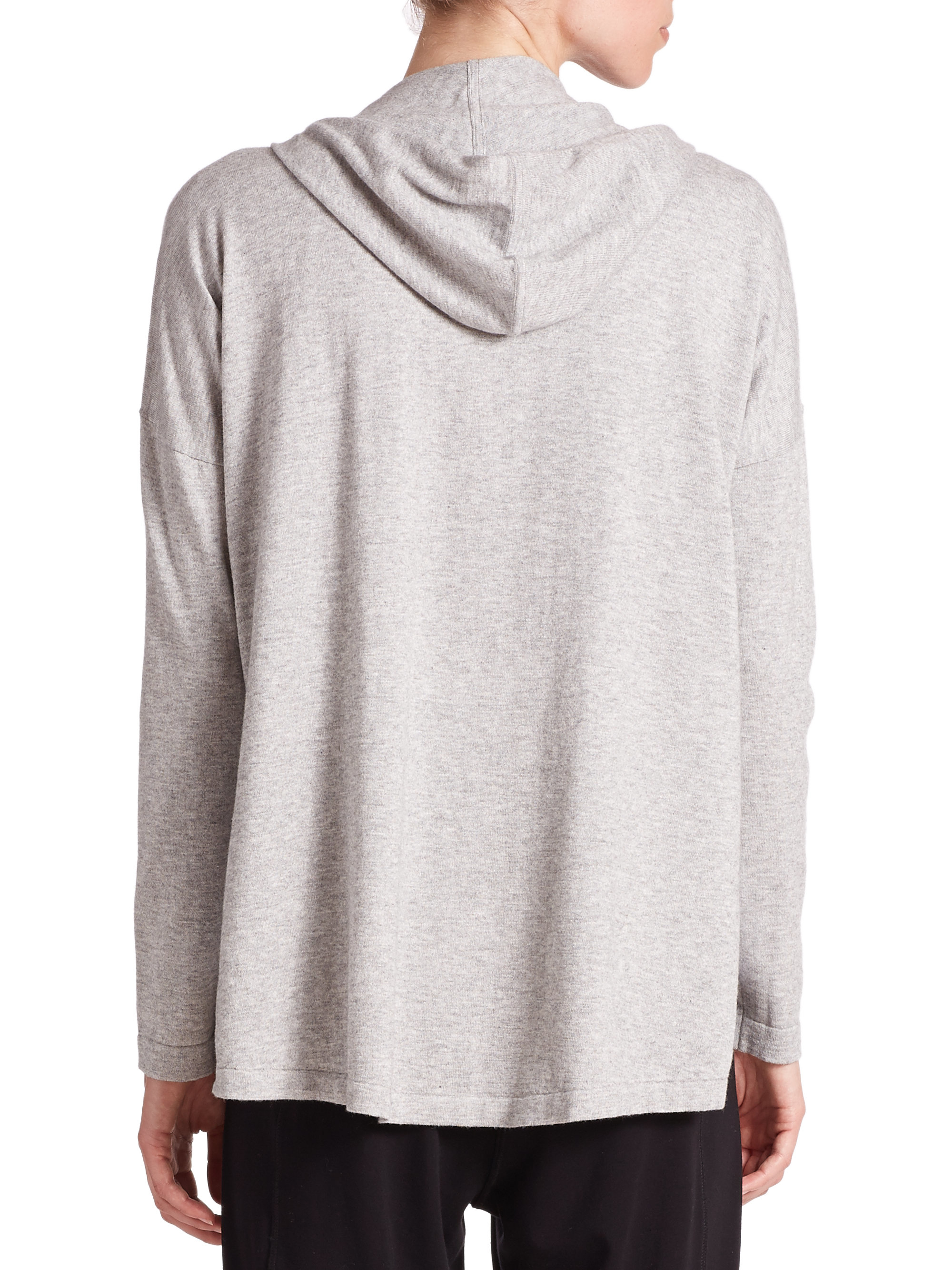 Eileen fisher Organic Cotton & Cashmere Hoodie in Gray   Lyst