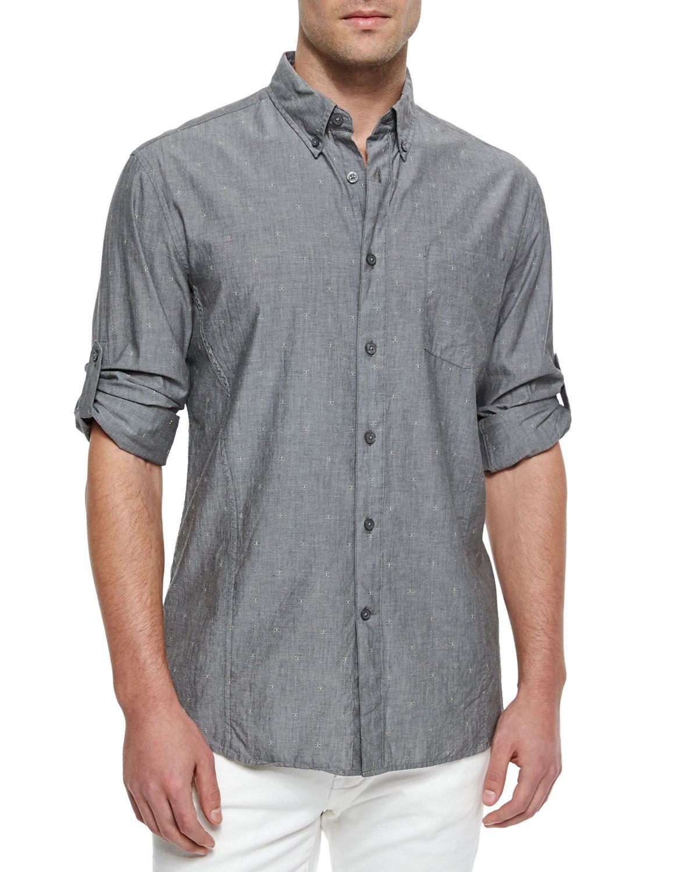 John Varvatos Solid Roll Tab Woven Shirt In Gray For Men