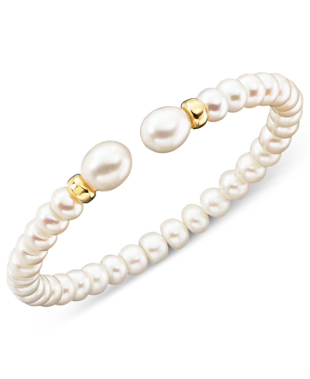 macy 39 s cultured freshwater pearl rondelle bracelet in 14k