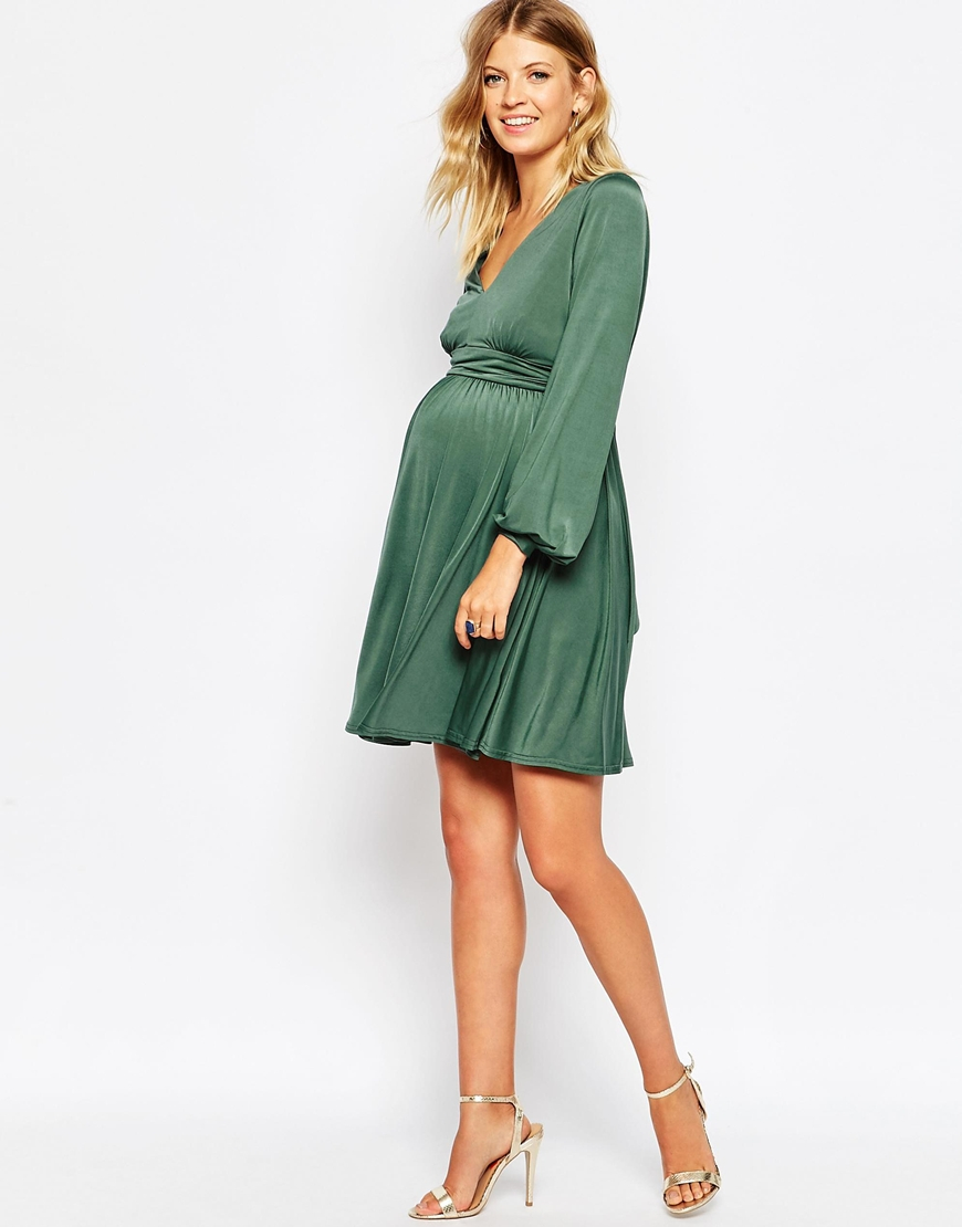 Asos maternity slinky wrap skater dress with blouson sleeve in gallery ombrellifo Choice Image