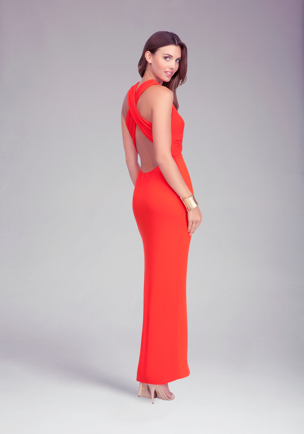 Bebe Vneck Open Back Maxi Dress In Red Lyst