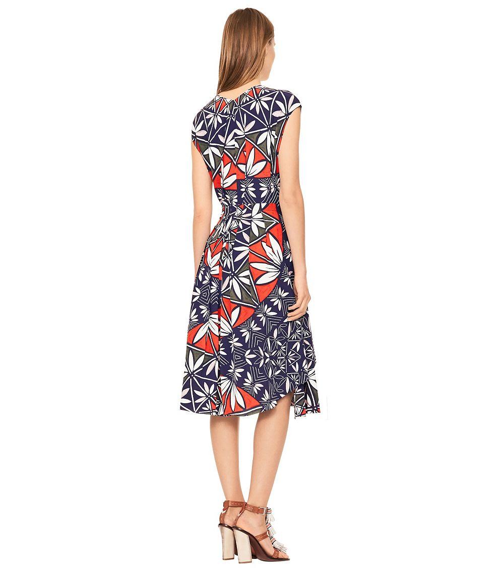 99a48c37577 Tory Burch Silk Wrap Dress in Blue - Lyst
