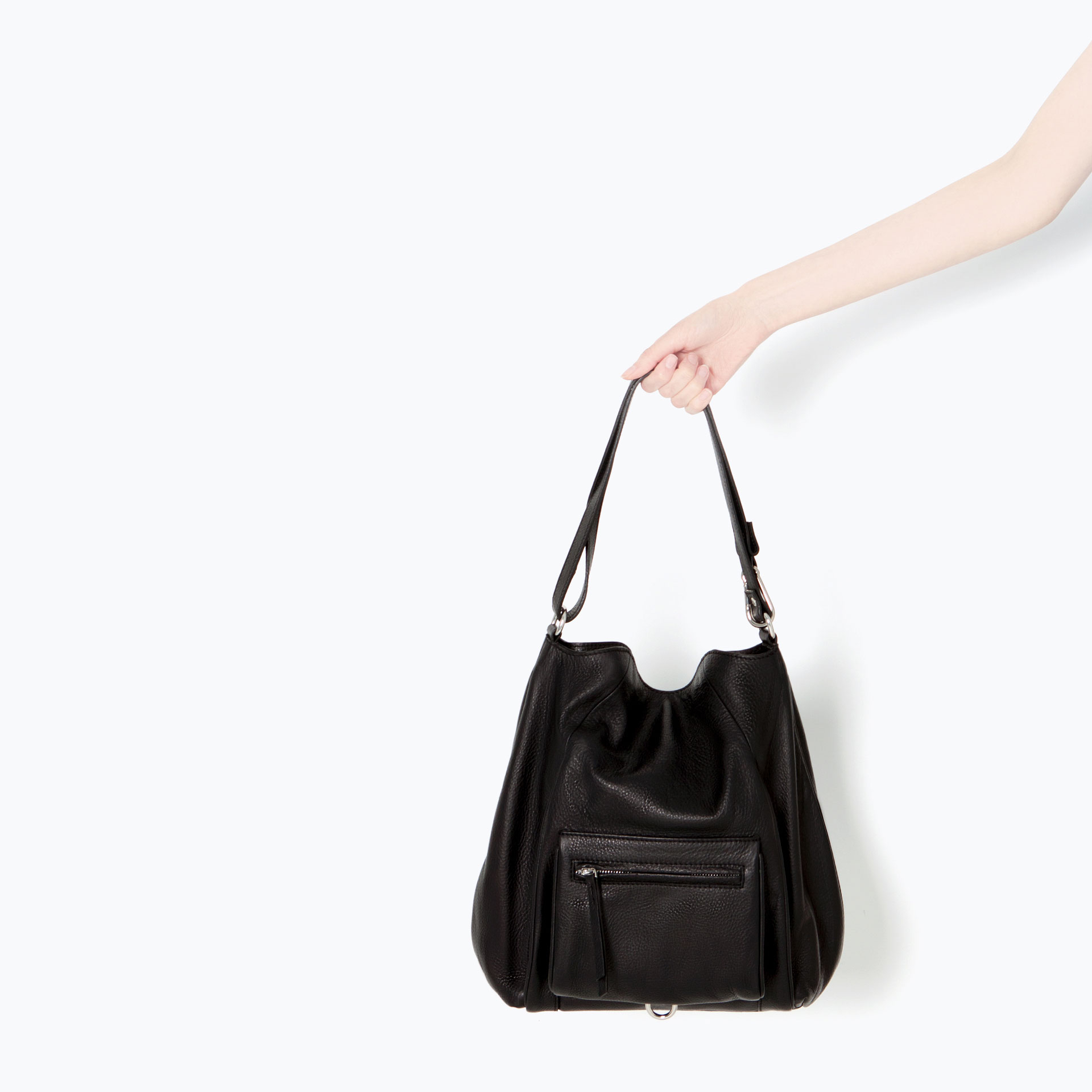 Zara Leather Bucket Bag with Front Pocket in Black | Lyst