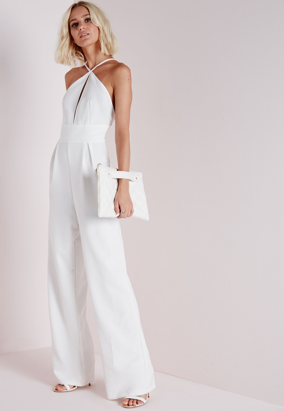 416f5c558b69 Lyst - Missguided Keyhole Wide Leg Jumpsuit White in White