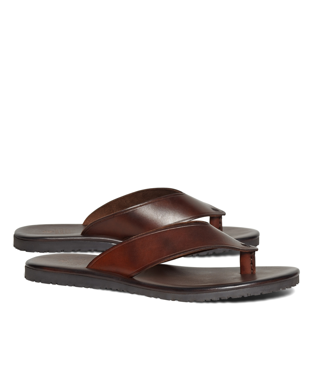 Brooks Brothers Wide Strap Leather Flip-Flops In Brown For -7425
