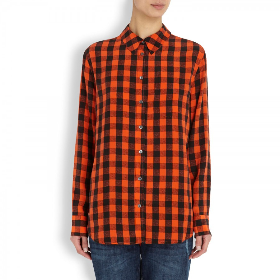 76c4d61dfe9b3b Equipment Reese Plaid Washed Silk Blouse in Red - Lyst