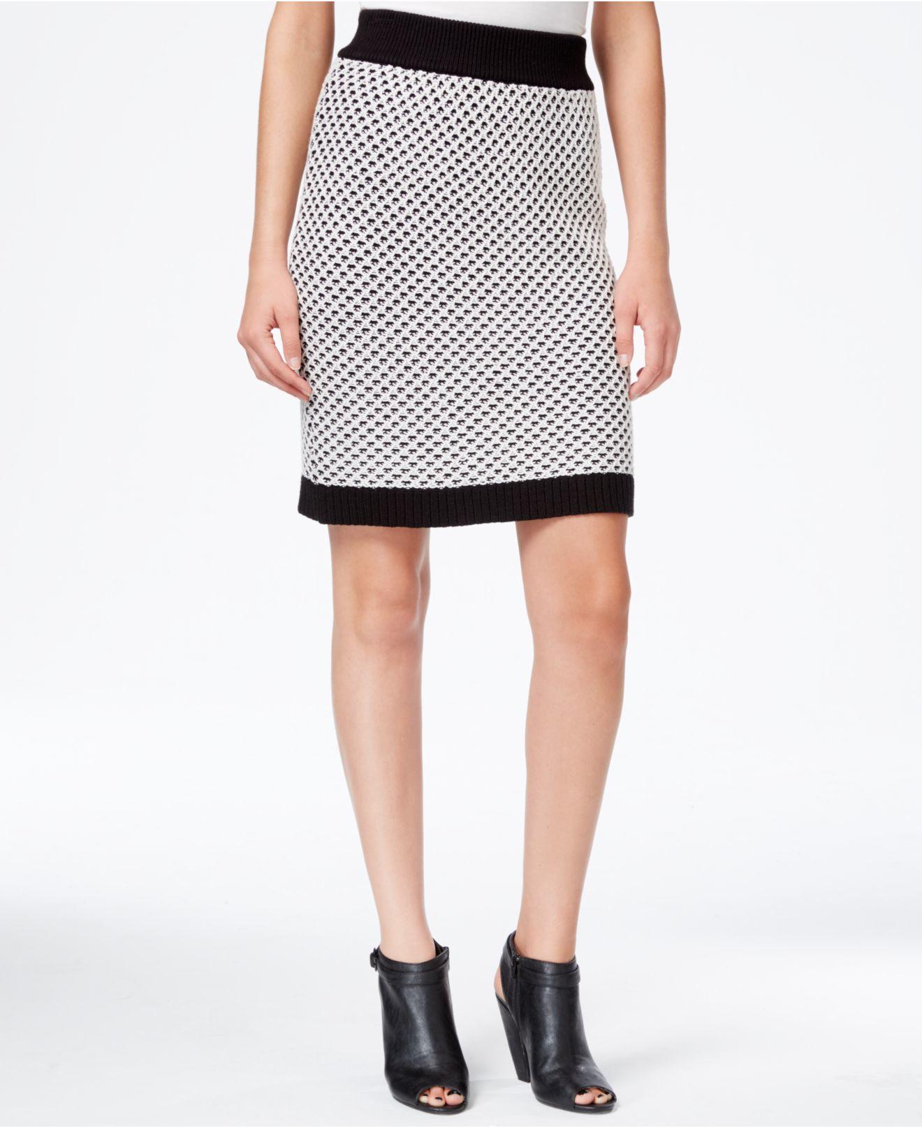 Kensie Honeycomb-knit Pencil Skirt in Black | Lyst