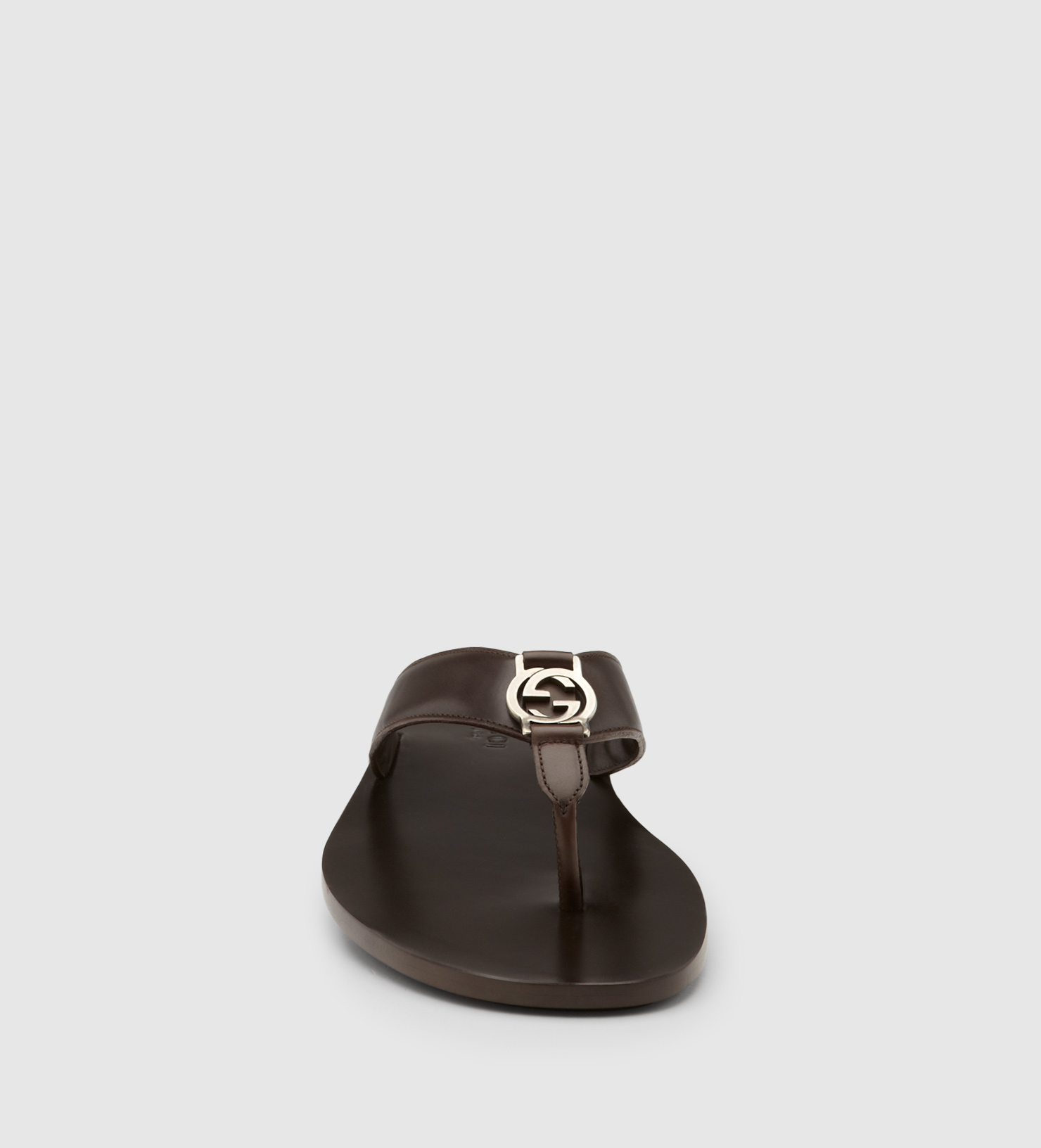 228ff5abd Lyst - Gucci Brown Leather Thong Sandal in Brown