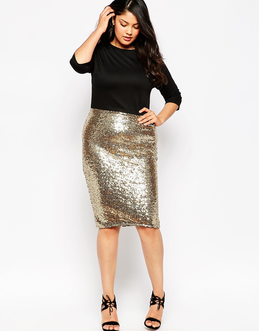Club l Plus Size Bodycon Dress With Sequin Skirt in Metallic | Lyst