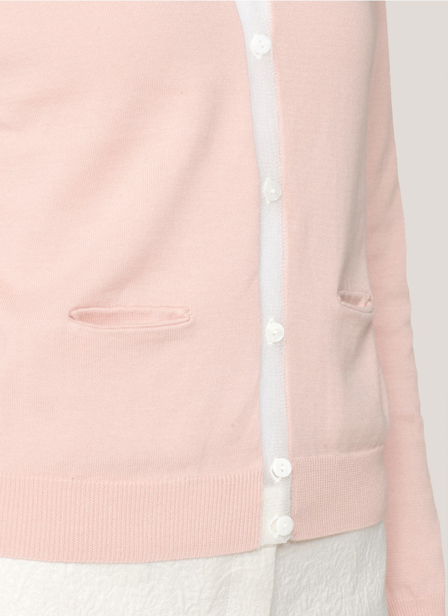 Carven Sheer-trim Cotton Cardigan in Pink | Lyst