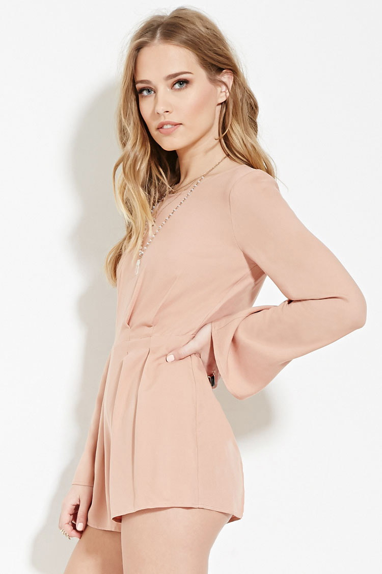 aca2a176be2 Lyst - Forever 21 Tie-back Pleated Romper in Pink