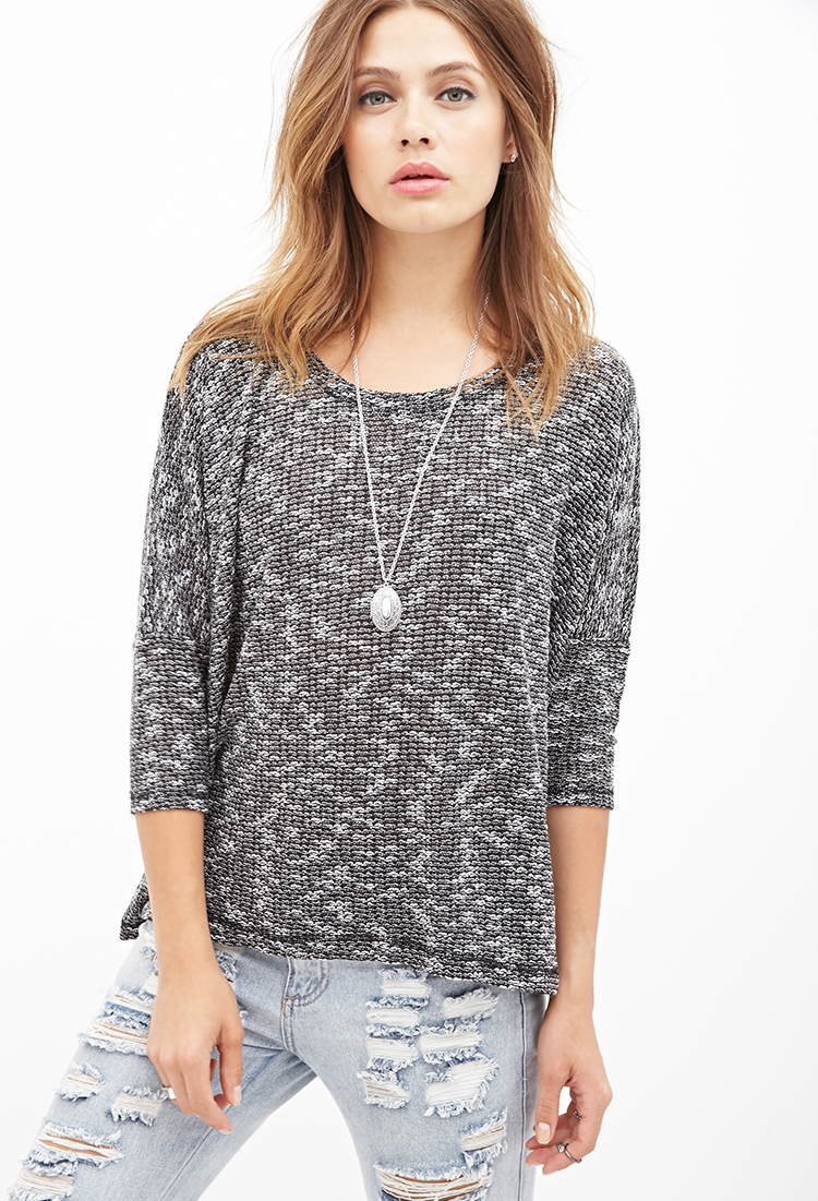 Forever 21 Slub Knit Top in Black (Black/cream)