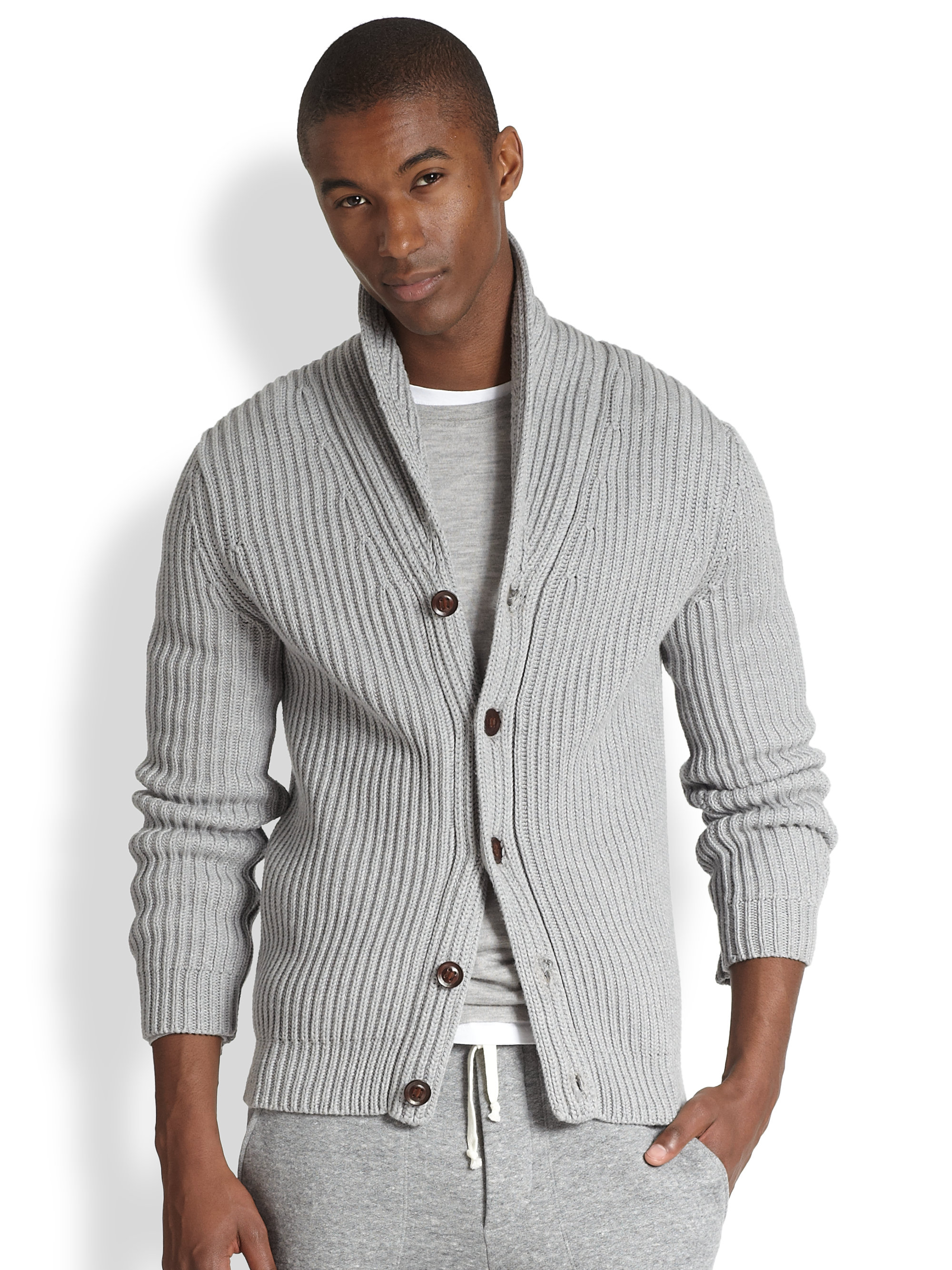 Vince Shawl Collar Ribbed Cardigan in Gray for Men | Lyst