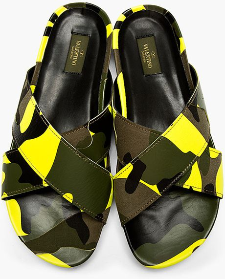 Valentino Yellow Camo Cross Strap Sandals In Green For Men