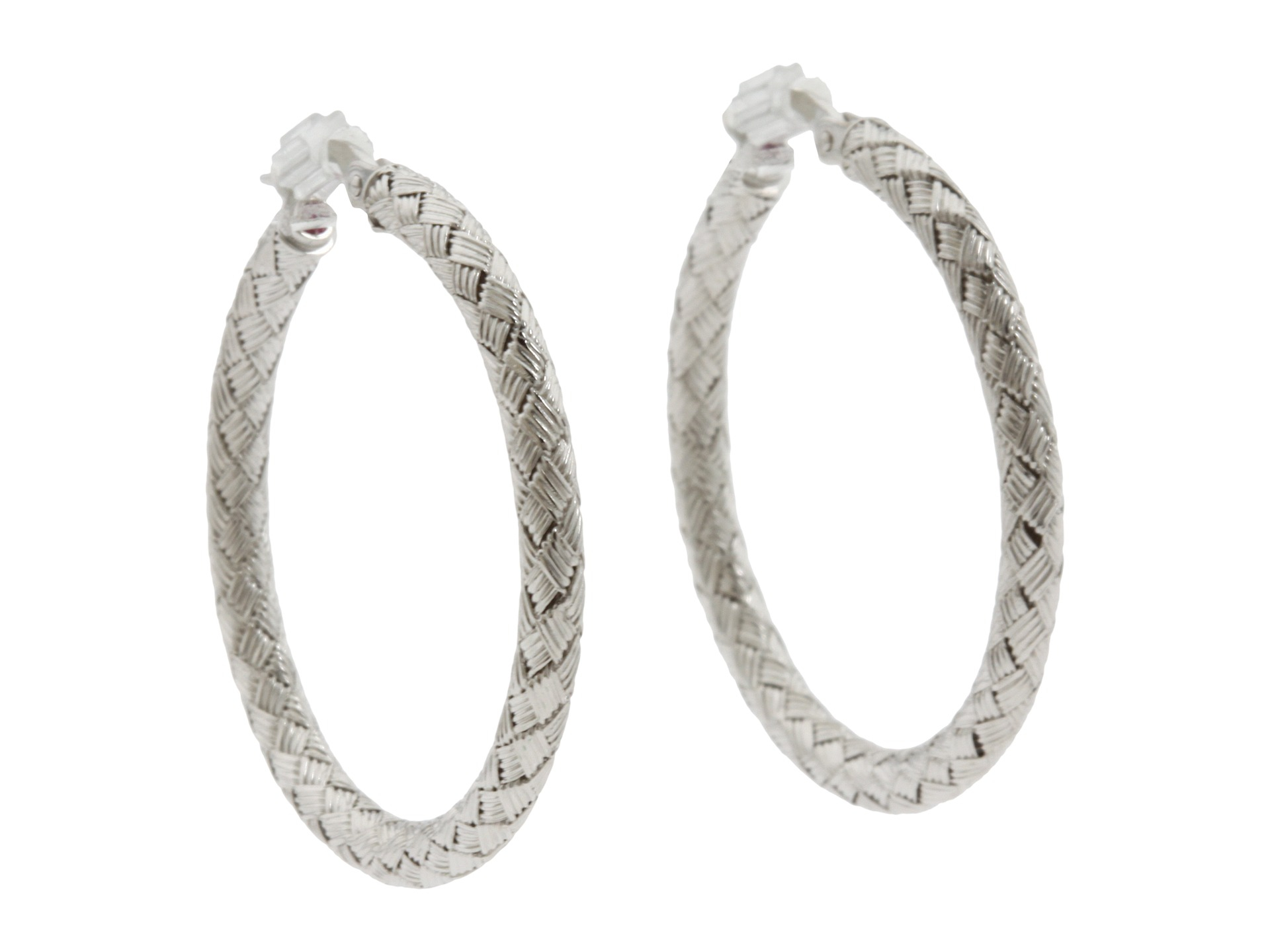 Lyst Roberto Coin Large Woven Hoop Earring In Metallic