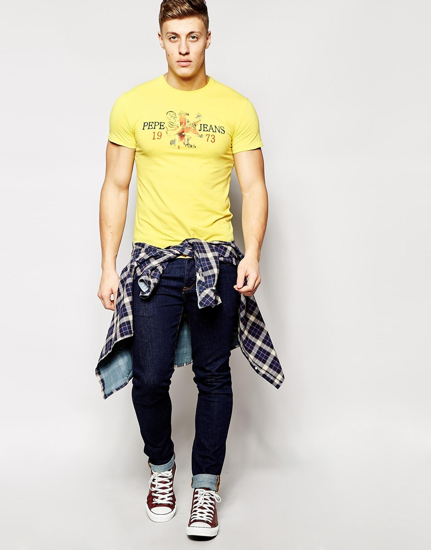 Lyst - Pepe Jeans Logo T-Shirt in Yellow for Men