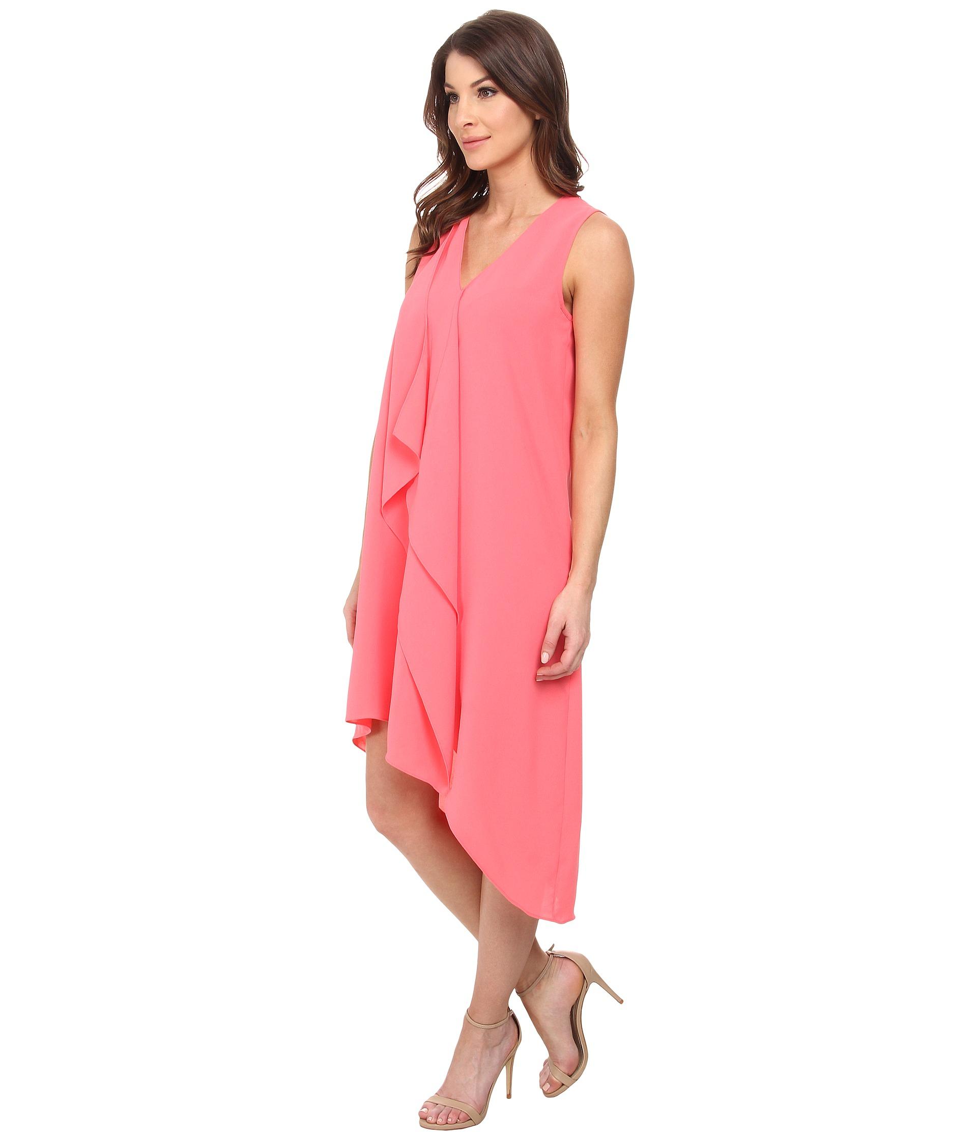 Asymmetric Drape Dress: Adrianna Papell Asymmetrical Front Drape Dress In Pink