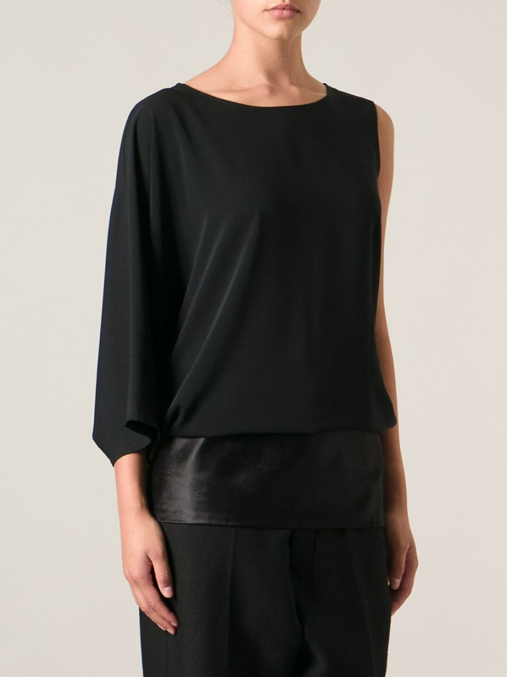 Mm6 by maison martin margiela one sleeve top in black lyst for Mm6 maison margiela