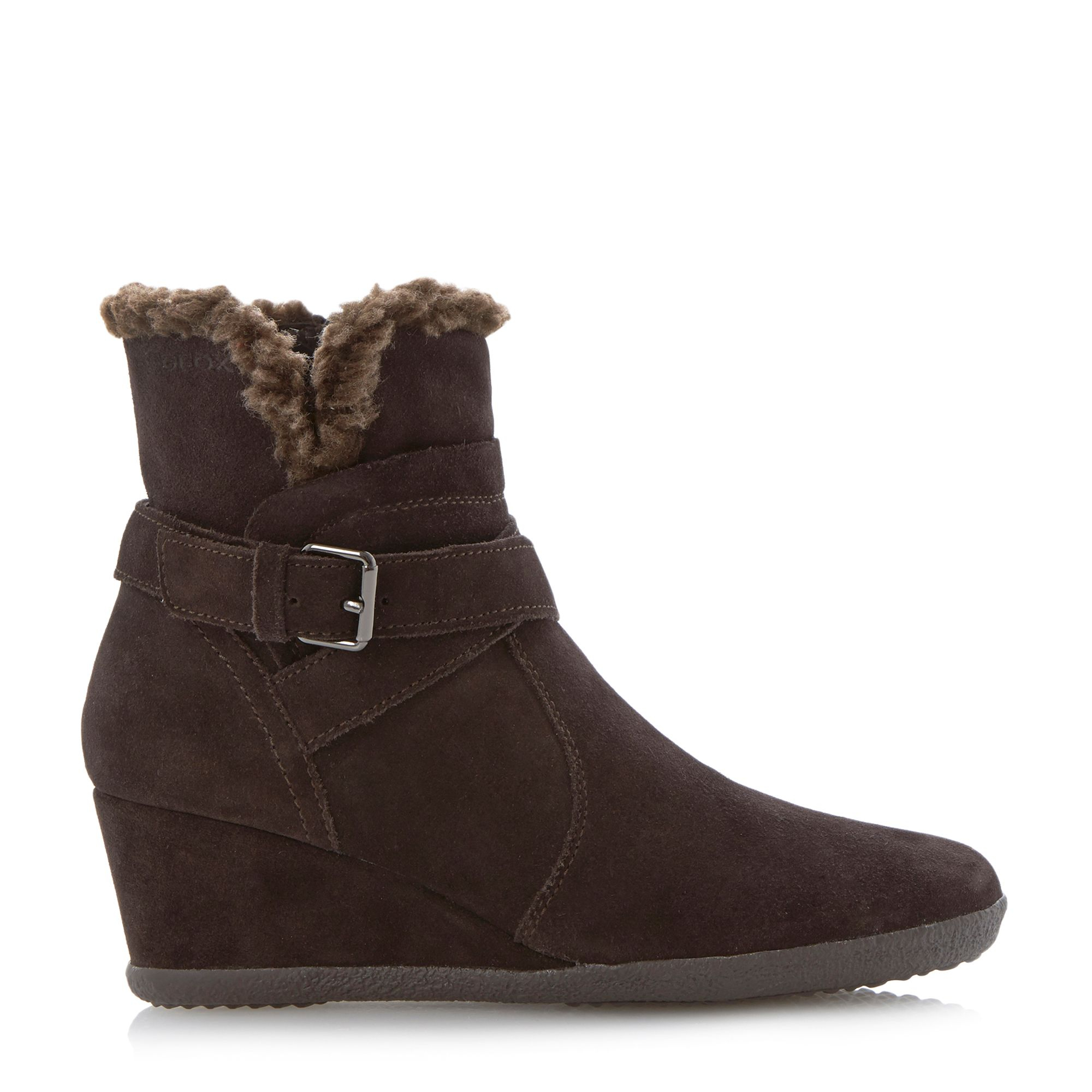 geox amelia stivali wedge buckle ankle boots in brown lyst