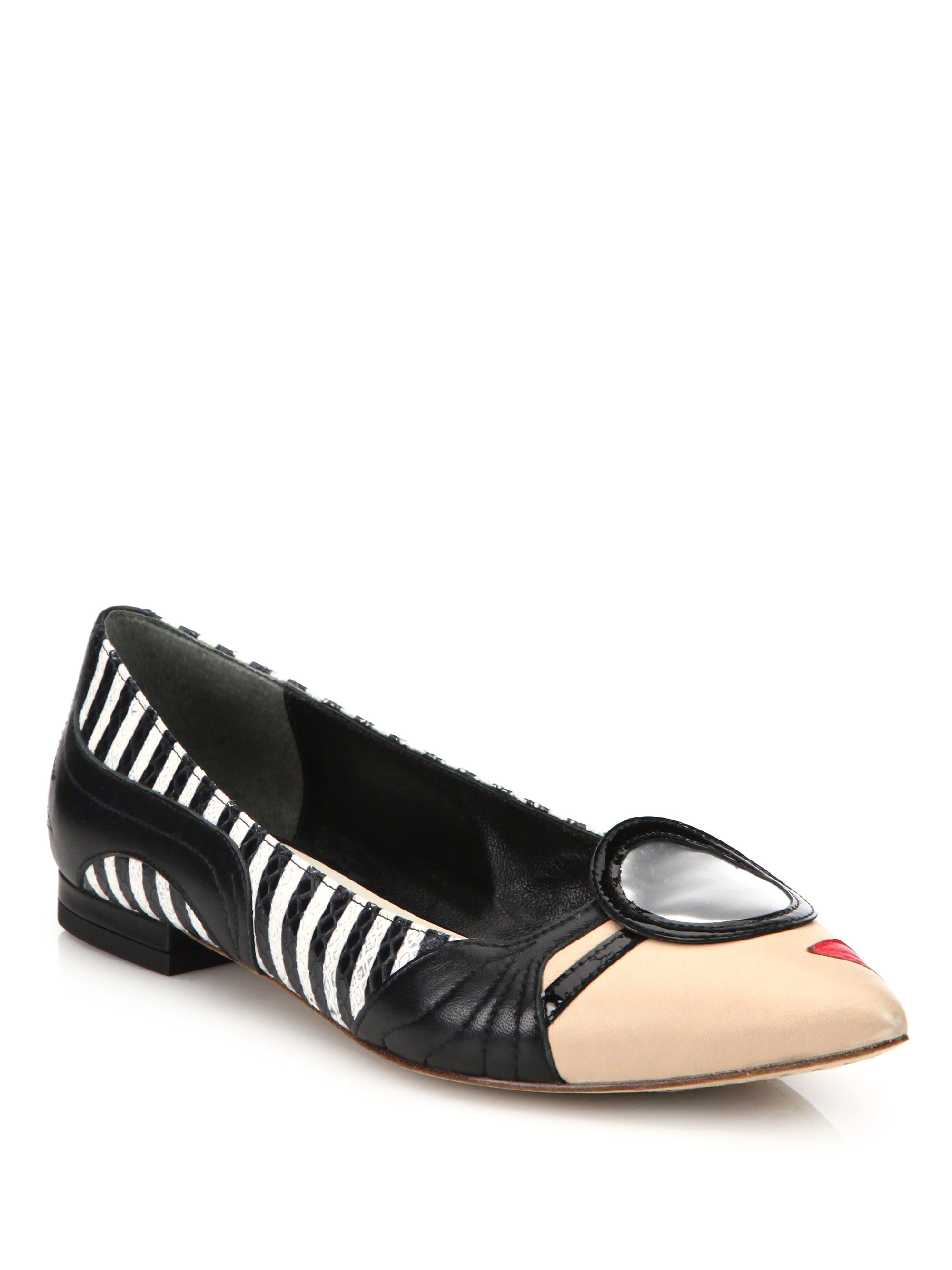 Alice + olivia Stace Face Point-toe Leather Flats