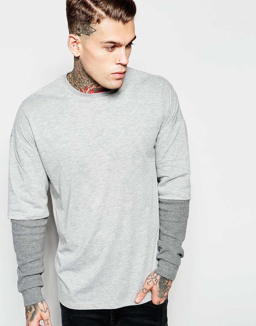 asos oversized long sleeve t shirt with waffle double layer sleeves in gray for men lyst. Black Bedroom Furniture Sets. Home Design Ideas